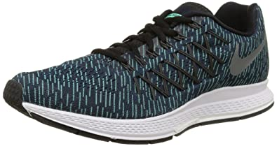 Nike Mens Air Zoom Pegasus 32 Print Running Shoe (Obsidian, Green Glow) Sz