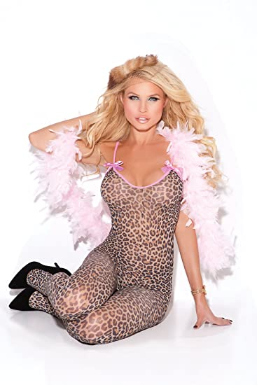 931370420f5 Amazon.com  Elegant Moments Women s Print Body Stocking with Satin Bows and  Open Crotch
