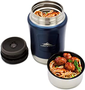 High Sierra King Size Thermos for Hot, Double Wall Insulation, 18/8 Stainless Steel, Keeps Warm for Up to 12 Hours, Leakproof Lid, Large, 24 oz Food Jar