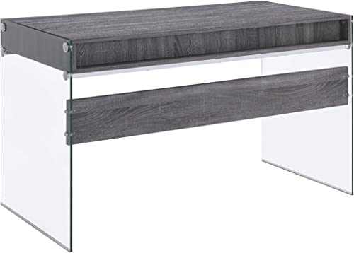 Dobrev 2-Drawer Writing Desk Weathered Grey and Clear