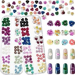 2 Boxes 4 Shapes 3D Nail Flowers Rhinestones Charms Nail Art Decoration Metal Rose Flowers Beads 24 Colors Nail Flowers Accessories for Nails Fingernails Toenails Decor Manicure Supplies
