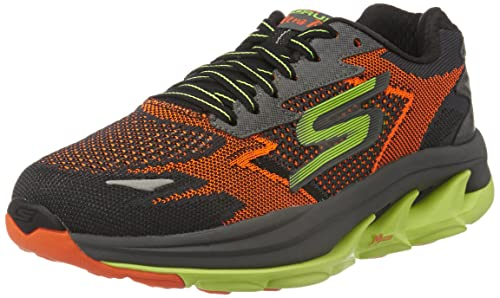 b2549b6563b05 Skechers Men s GO Run Ultra R - Road Orange and Lime Mesh Running Shoes - 8