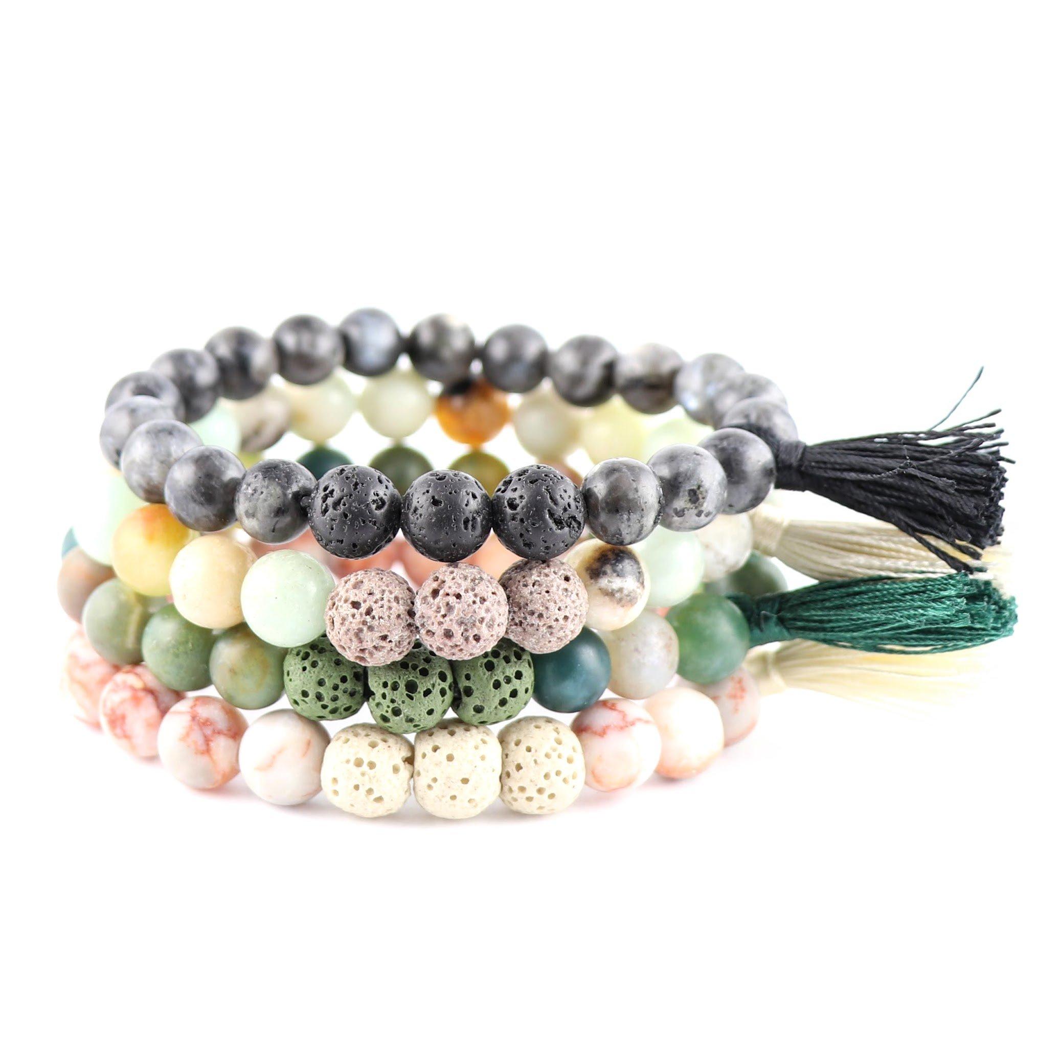 New Lava Rock Natural Stone Essential Oil Diffuser Tassel Bracelet | Distance Friendship Mala Tibetan Praying Beaded Bracelet Jewelry Box (Medium-Large, 4 Pcs Set - Heal & Let Go. Black, Green, Beige)
