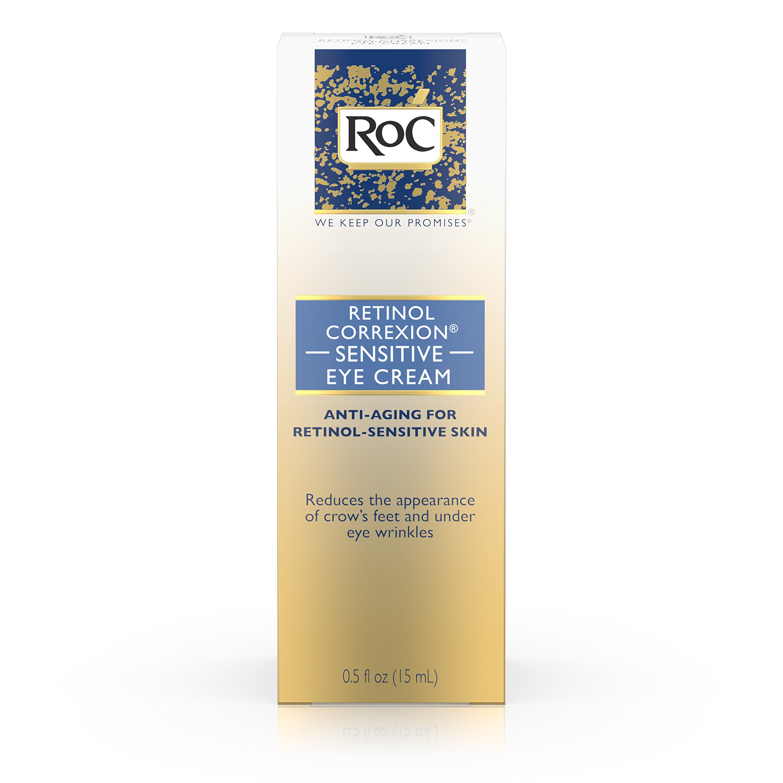 RoC Retinol Correxion Anti-Aging Eye Cream for Sensitive Skin, Anti-Wrinkle Treatment with milder retinol formula that helps condition skin to retinoids .5 fl. oz