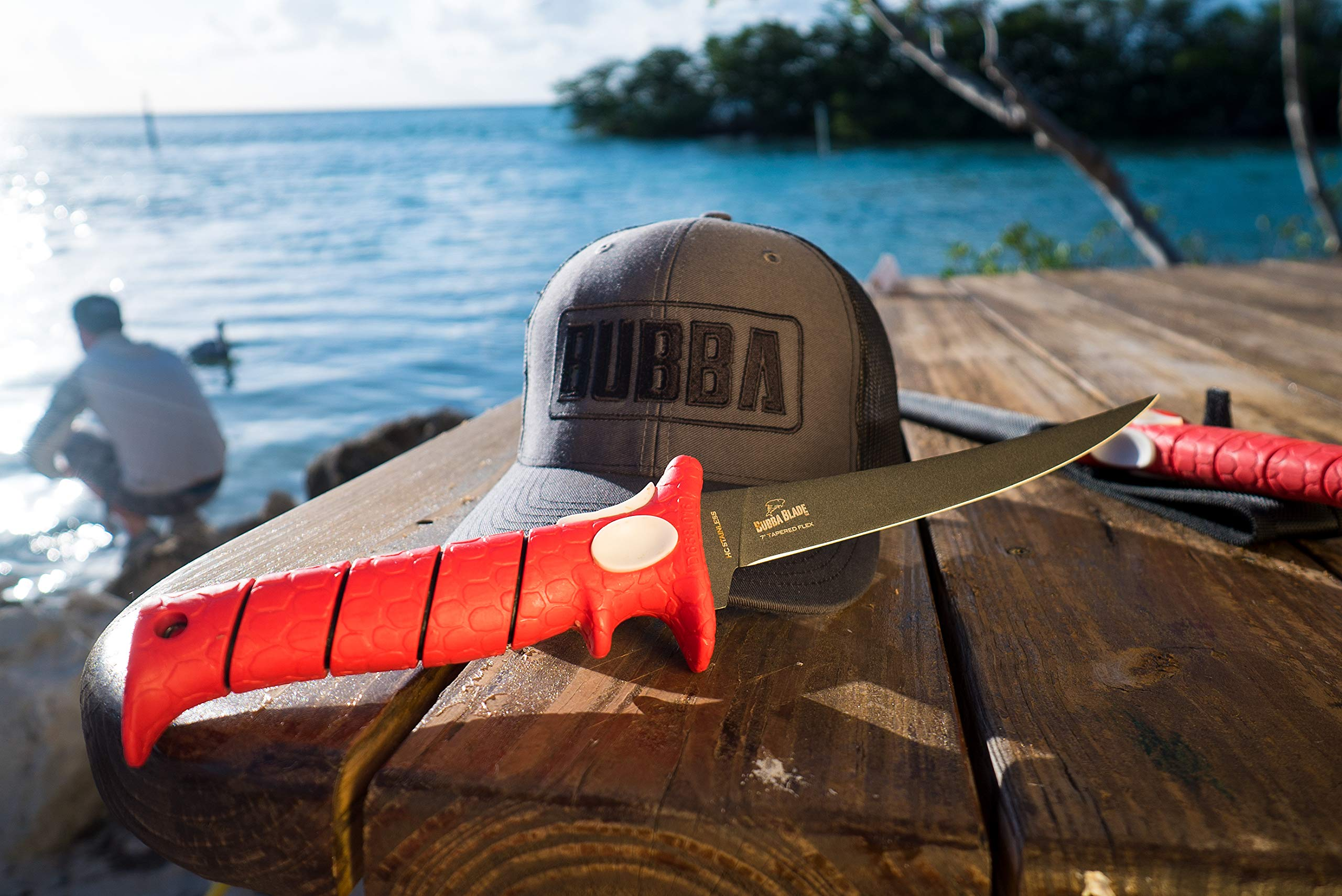 Bubba Blade 9 Inch Tapered Flex Fillet Knife with Non-Slip Grip Handle, Full Tang High Carbon Stainless Steel Titanium Coated Non-Stick Blade, Lanyard Hole and Synthetic Sheath for Fishing by Bubba Blade (Image #4)
