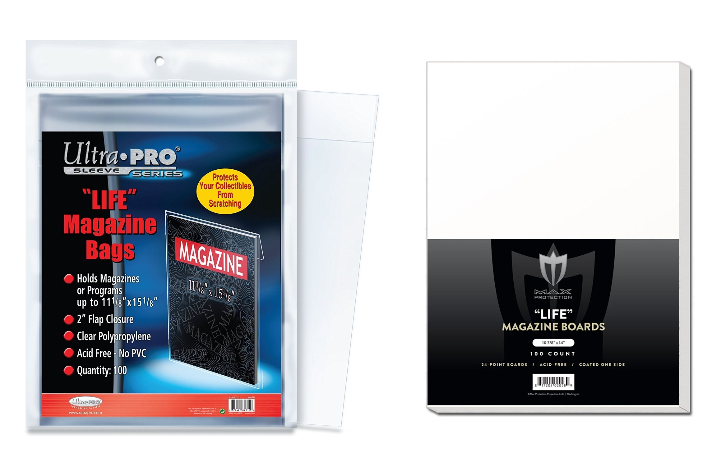 (1000) Ultra PRO Life Magazine 11-1/8 x 15-1/8'' Bags and Max Pro Boards (10x 100 Count Pack of each), Small, Clear by Ultra Pro (Image #1)