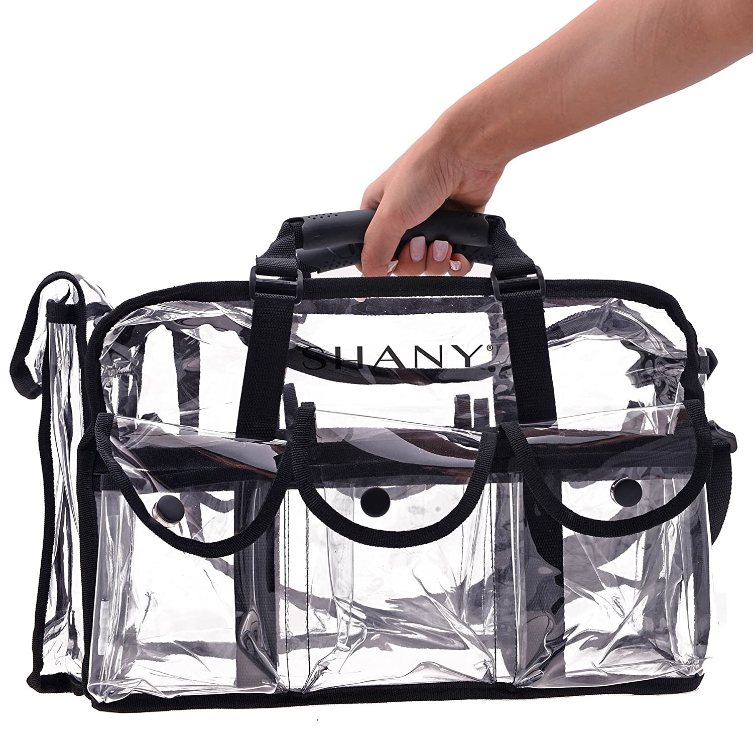 SHANY Clear Makeup Bag, Pro Mua rectangular Bag with Shoulder Strap, Large (BLACK) : Beauty