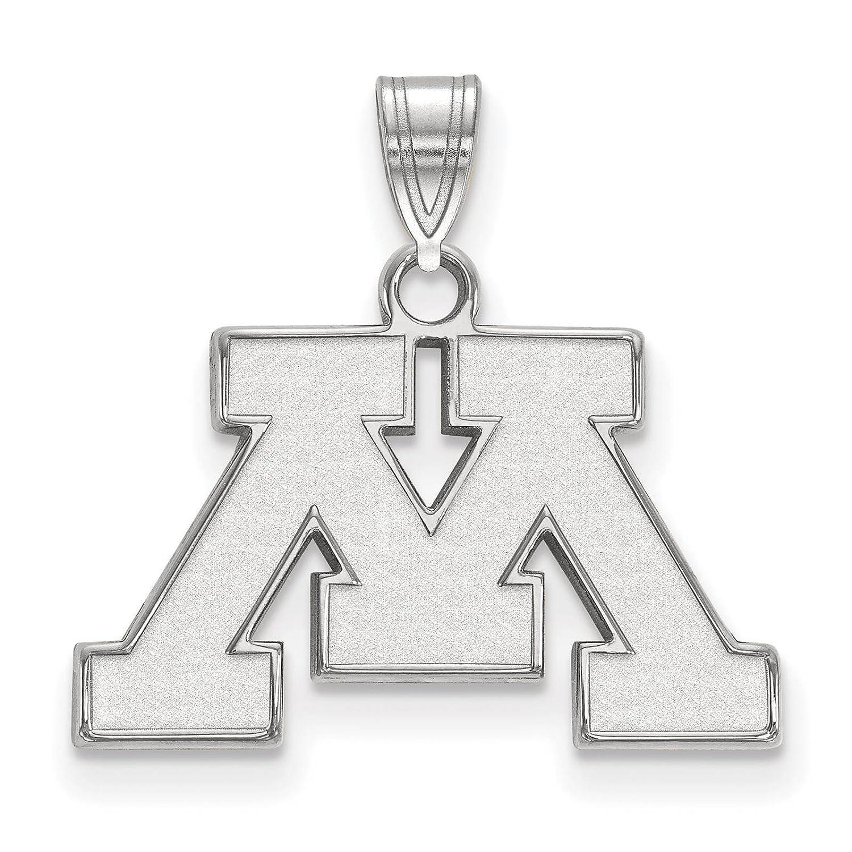 925 Sterling Silver Rhodium-plated Laser-cut University of Minnesota Small Pendant