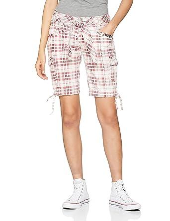 3190500abece3d Fresh Made Damen Bermuda-Shorts kariert   Bequeme kurze Hose aus reiner  Baumwolle white S