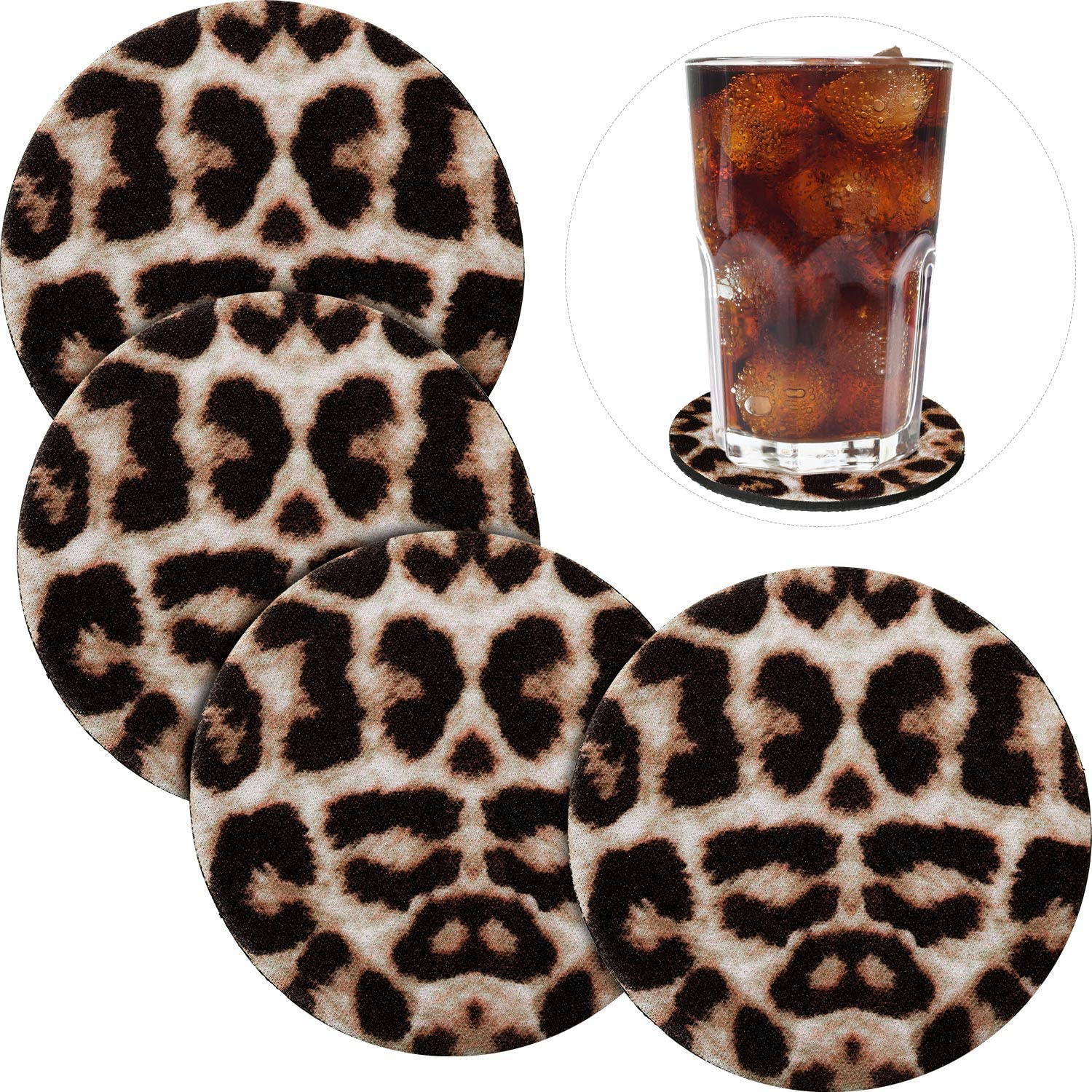 4 Pieces 3.54 Inch Leopard Coasters Insulated Coaster Cheetah Print Absorbent Neoprene Cup Holder Coaster for Kitchen Office Living Room Furniture Drinking Coaster