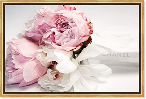 The Oliver Gal Artist Co. Fashion and Glam Framed Wall Art Canvas Prints 'Peonies and Magnolia Love' Lifestyle Home D cor