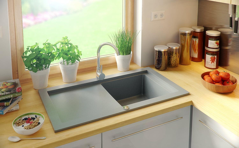 avec siphon automatique /évier de cuisine 1 bac Gris /Évier granit Primagran