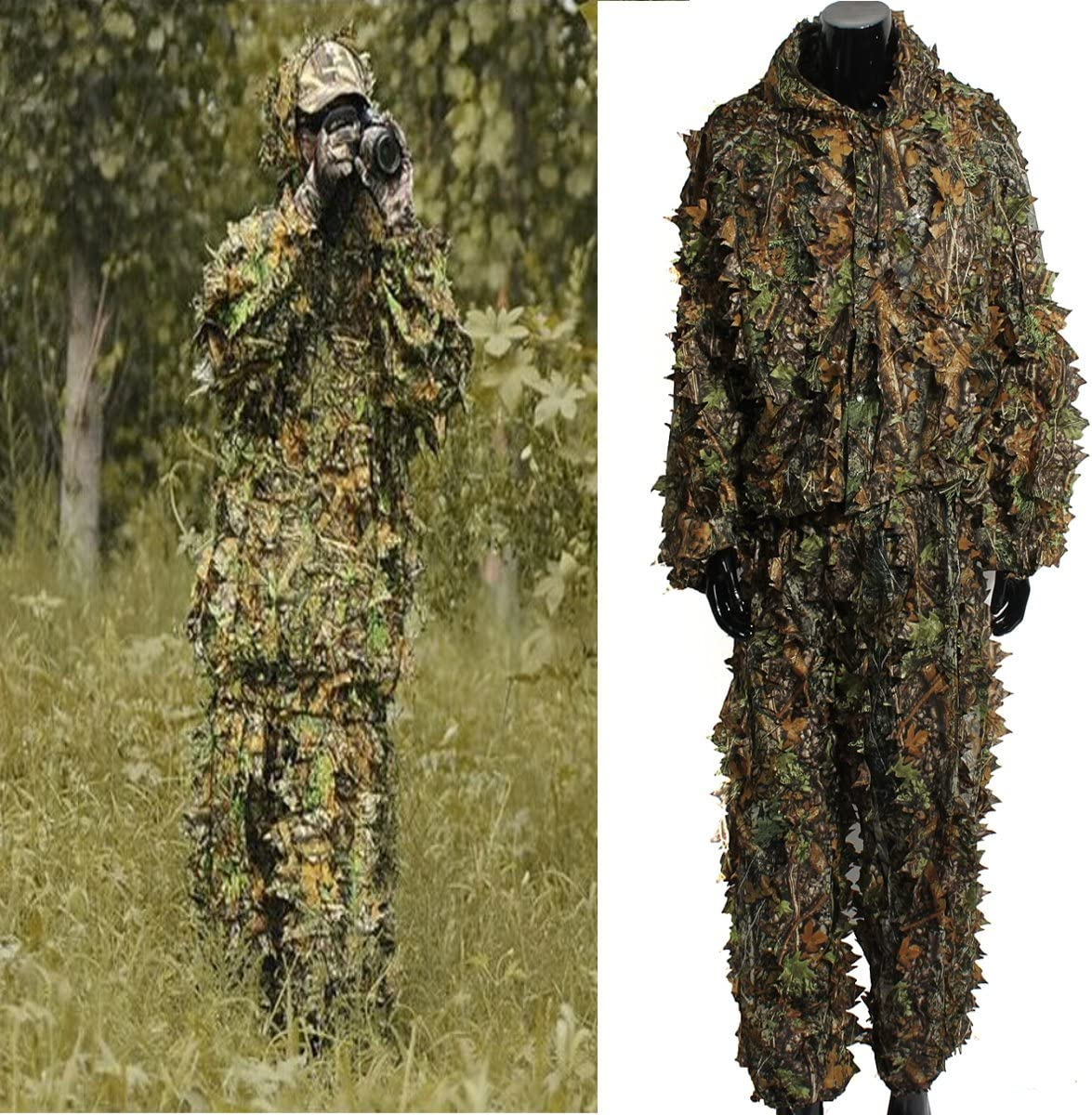 OUTERDO Camo Suits Ghillie Suits 3D Leaves Woodland Camouflage Clothing Army Sniper Military Clothes and Pants for Jungle Hunting, Shooting, Airsoft, Wildlife Photography, Halloween : Sports & Outdoors
