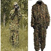 Tenue Camouflage, OUTERDO Ensemble Camouflage Tenue Camouflée Suits Camouflage Vêtement de Camouflage Feuille Ghillie Suit Woodland Treillis Camo Tenue de Camouflage Jungle 3D Hunting Chasse …
