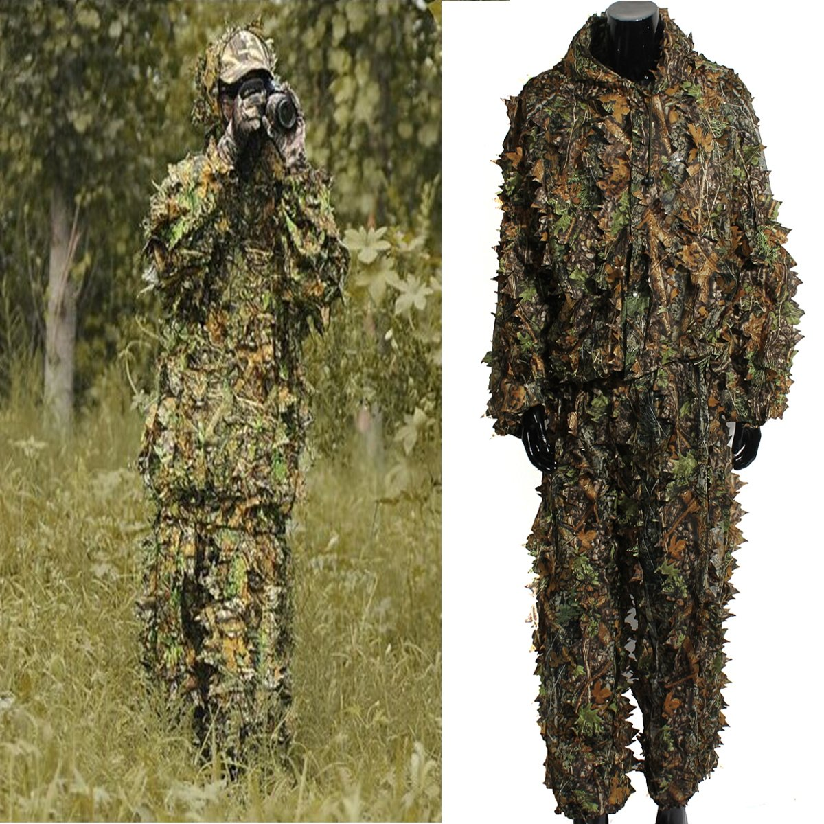 OUTERDO Camo Suits Ghillie Suits 3D Leaves Woodland Camouflage Clothing  Army Sniper Military Clothes and Pants for Jungle Hunting, Shooting,  Airsoft,