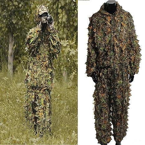 Ghillie Suit 3D, OUTERDO Traje de Camuflaje Para Caza Woodland ...