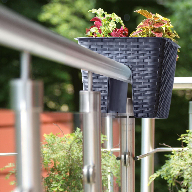 Vaso fioriera per ringhiera Ratolla Railing lunghezza 39 cm taupe colore
