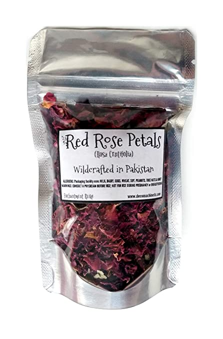 Reiki Charged Red Rose Petals Rosa Centifolia Wildcrafted in Pakistan Loose Leaf Dried Flower 0.25 oz bag Small Sample Tea