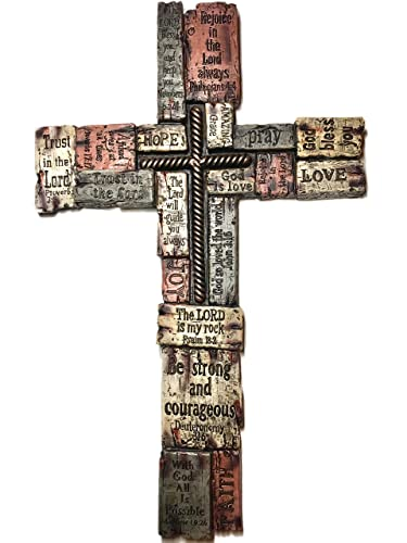 Bible Verses on Resin Wood-like Bricks Cross 17 Inch Christians Words and Saying Crossword Wall Cross Home Decor, Hope, Strength, Pray, Family, Love, Trust, Faith, God Bless You and more 7194