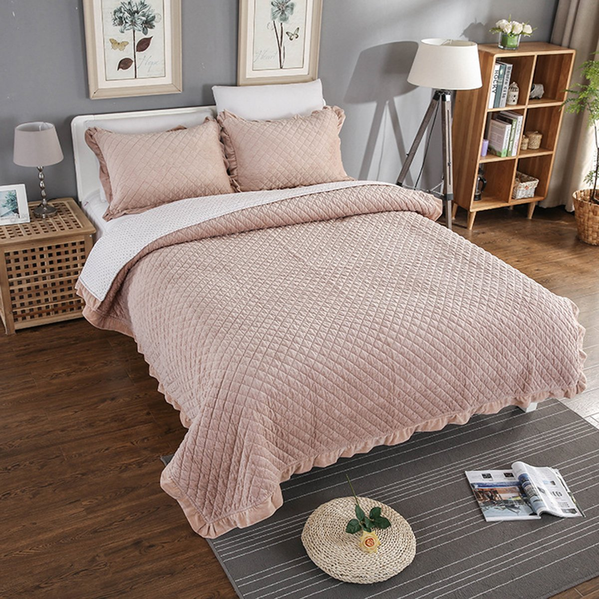 S Hotel Collection Flannel Fleece 3-Piece Solid Oversized Bedspread Riversible Embossed Coverlet Set