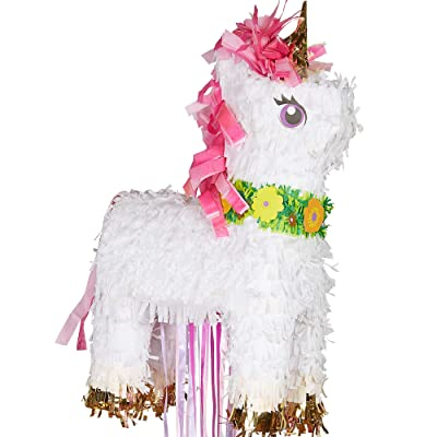 amscan P19733 Magical Unicorn Deluxe Pull Pinata 32cm x 46cm - 1 Pc, Multicoloured: Toys & Games