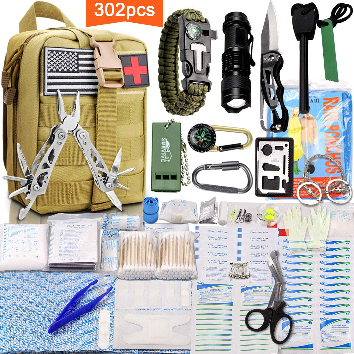 Monoki First Aid Survival Kit, 302Pcs Tactical Molle EMT IFAK Pouch Outdoor Gear EDC Emergency Survival Kits First Aid Kit Trauma Bag for Hiking Camping Hunting Car Travel or Adventures(Mud Yellow) by Monoki (Image #1)