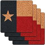 Texas State Flag Low Profile Cork Coaster Set