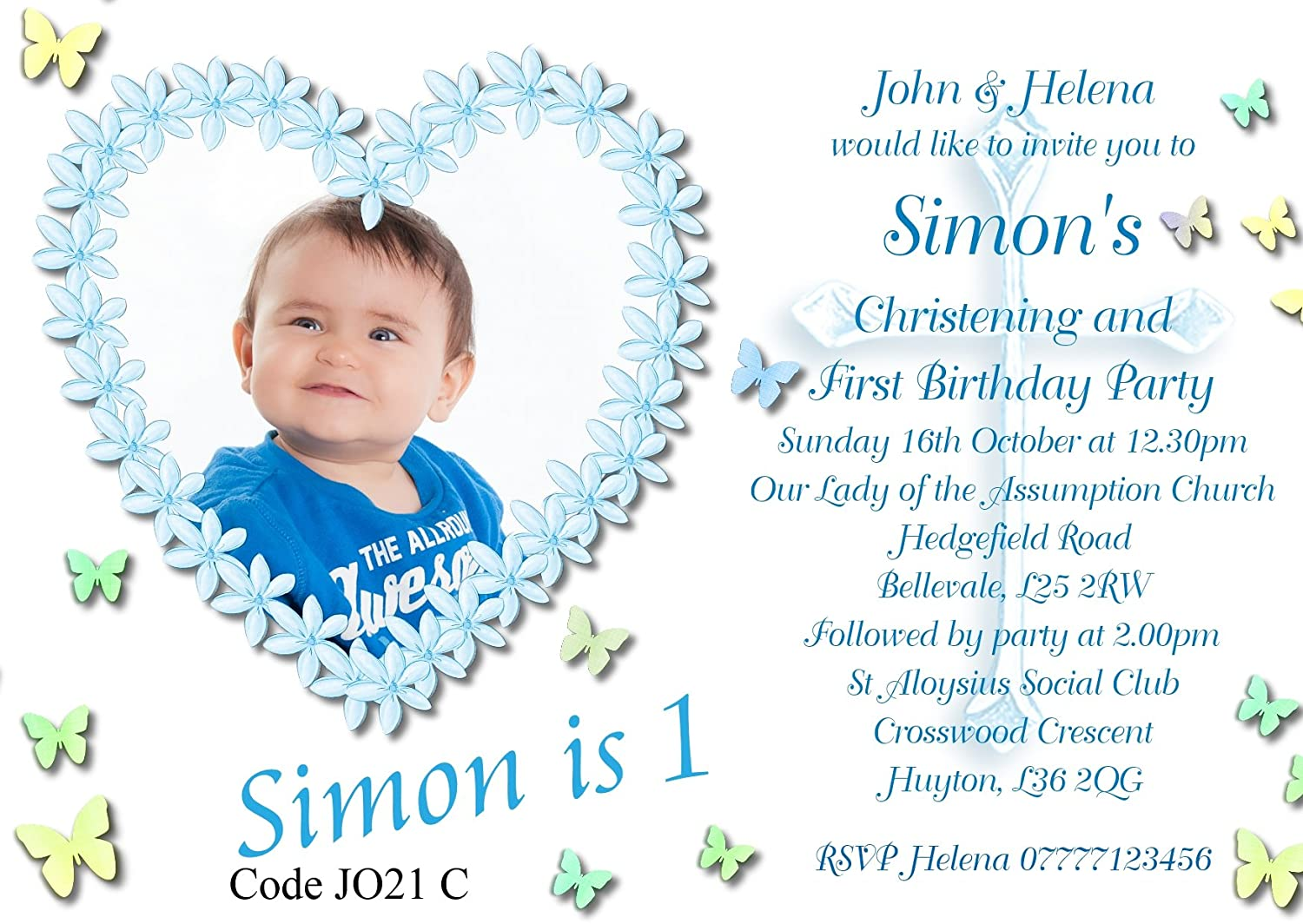 Personalised boys joint christening first birthday invitations personalised boys joint christening first birthday invitations cards size a6 148mm x 105mm any age with free envelopes various quantities available kristyandbryce Choice Image