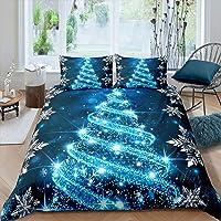 Merry Christmas Comforter Cover King Size Blue Xmas Theme Bedding Set for Girls Boys Women Glitter Blue Christmas Trees…