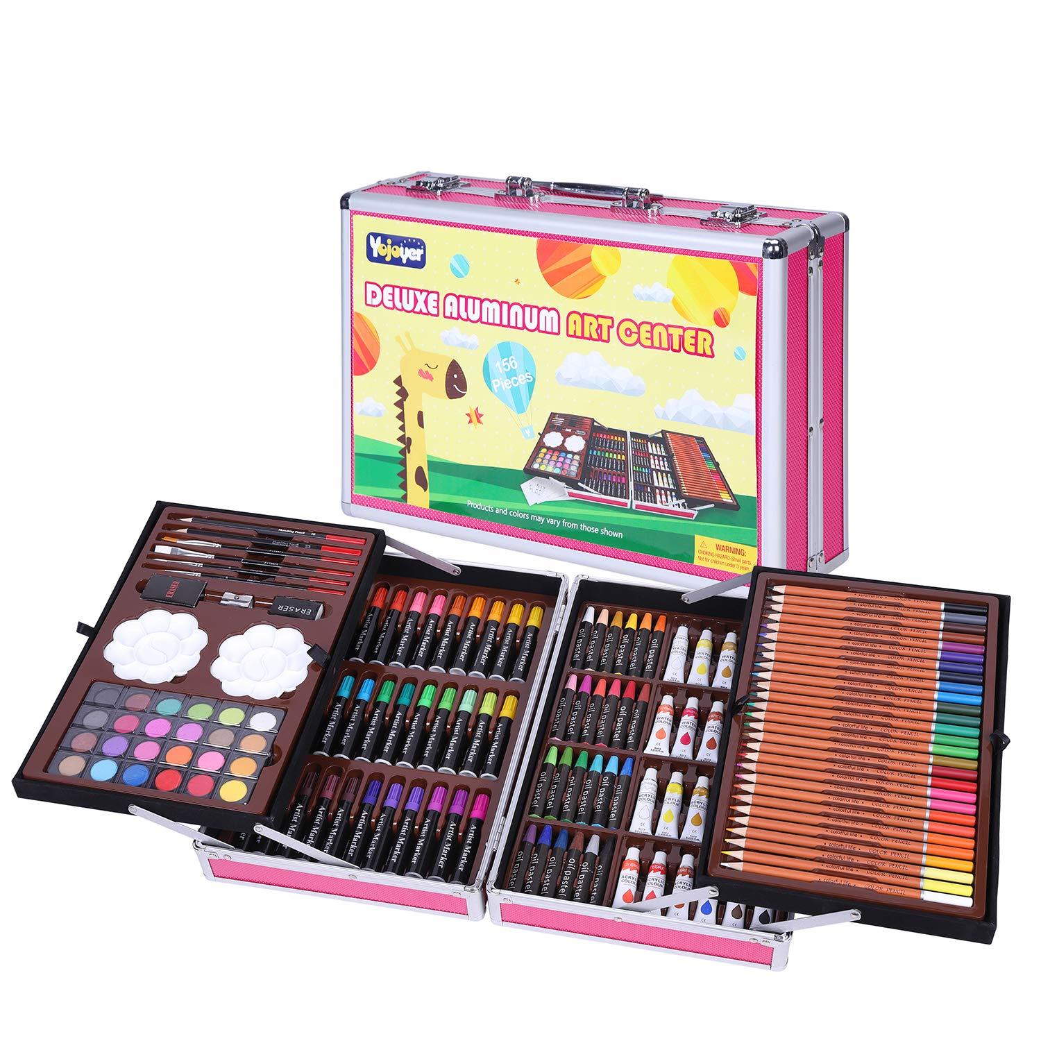 Kids Art Set with Portable Aluminium Case,156 Piece Art Supplies,Colored Pencils Crayons for Artists,Students & Beginners Pink by Yojoyer