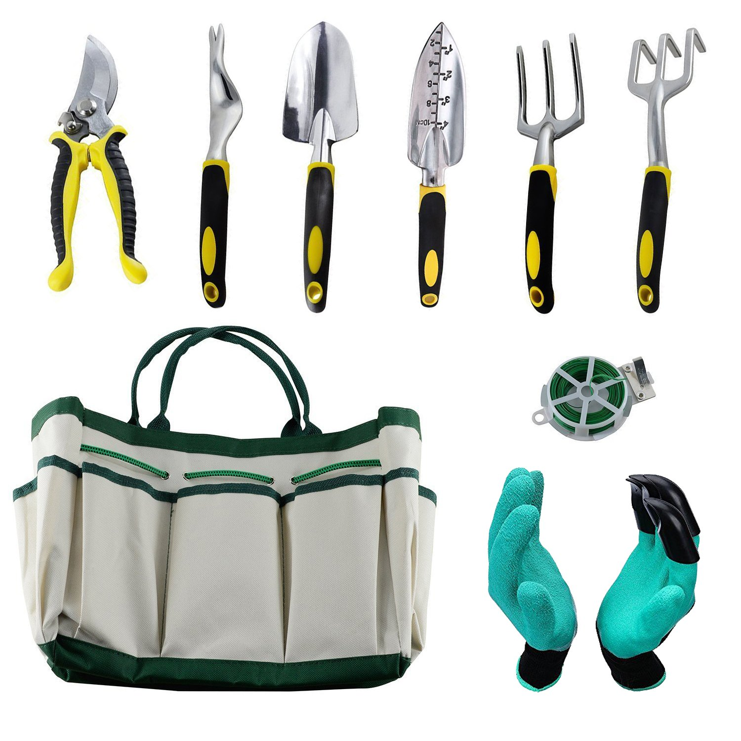 HmiL-U Garden Tool Sets 9 piece Gardening tool with Plant Tie- Garden Tote and Garden Gloves and more Christmas gifts for your parents.
