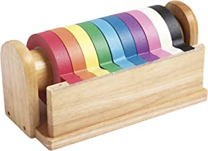 ECR4Kids Decorative Children's Craft Tape Wooden Dispenser with 10 Assorted Color Tape Rolls