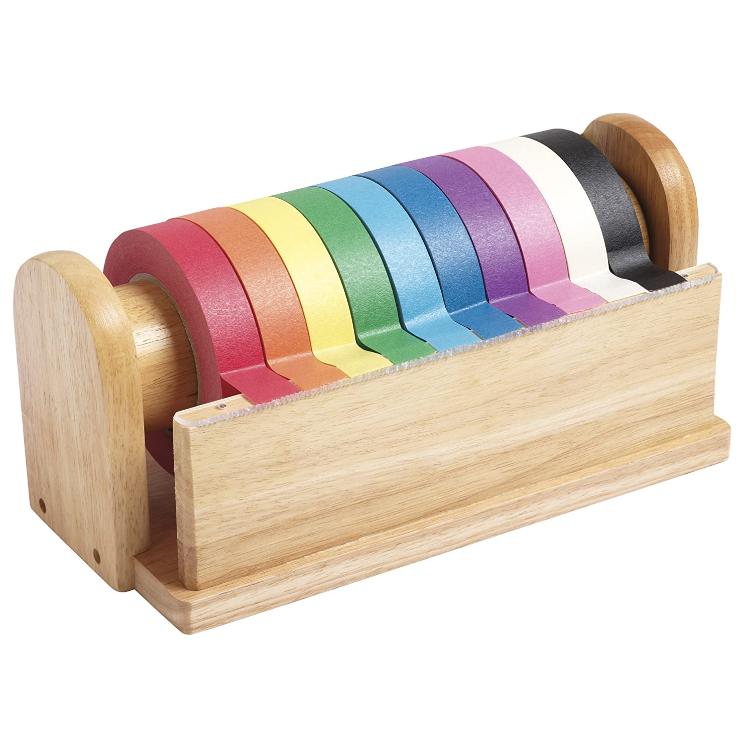 Wooden Dispenser with 10 Assorted Color Tape Rolls