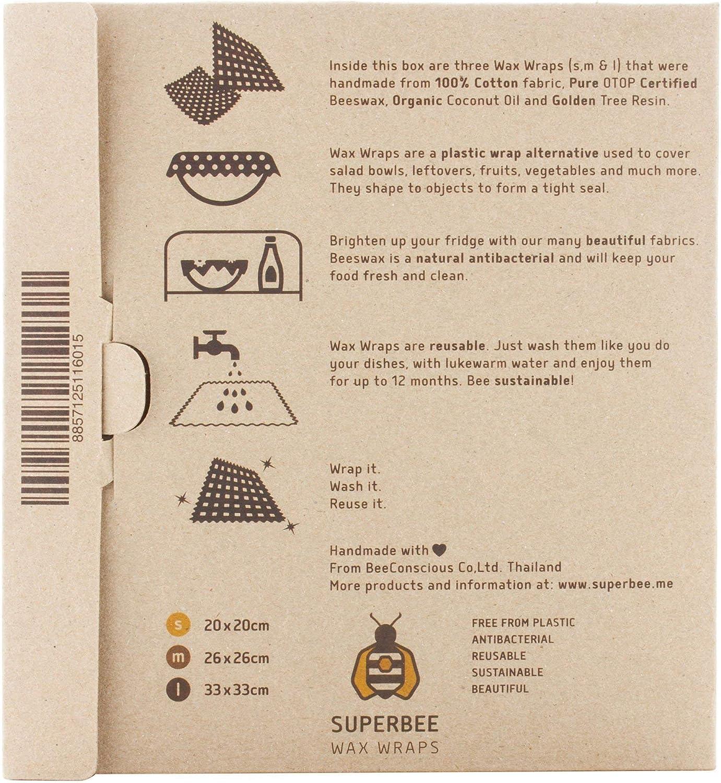 Organic Zero Waste Film. Pack de 3 tama/ños: Peque/ño Mediano y Grande Eco Friendly Reutilizable SuperBee Envoltorios de Cera de Abeja