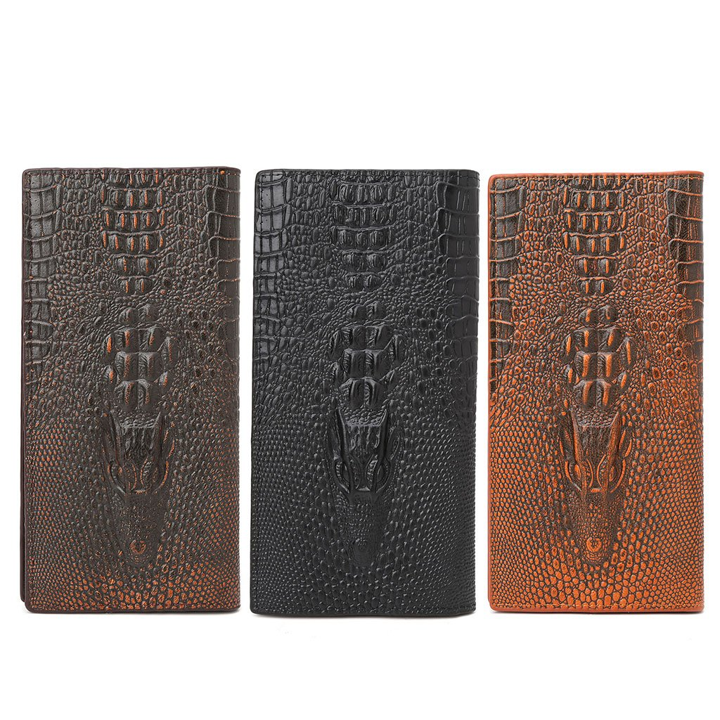 JAGENIE Mens 3D Alligator Wallet Bifold ID Card Holder Purse Case Long Clutch Billfold Black