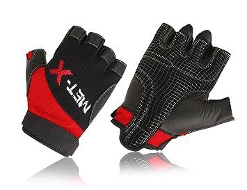 MET-x está hecha de piel Premium musculación antideslizante guantes rojo: Amazon.es: Deportes y aire libre