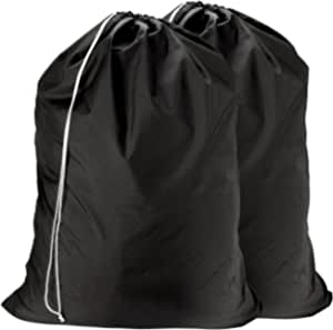 Nylon Laundry Bag - Locking Drawstring Closure and Machine Washable. These Large Bags will Fit a Laundry Basket or Hamper and Strong Enough to Carry up to Three Loads of Clothes. (Black | 2-PACK)