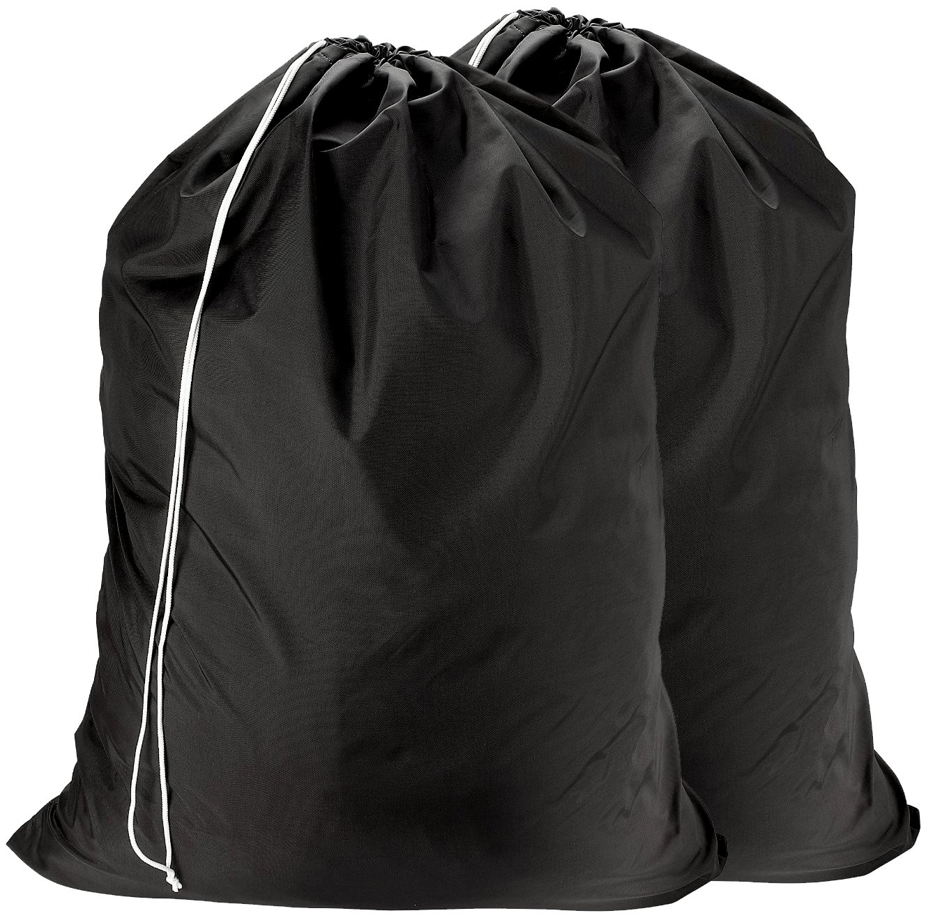 Nylon Laundry Bag - Locking Drawstring Closure and Machine Washable. These Large Bags will Fit a Laundry Basket or Hamper and Strong Enough to Carry up to Three Loads of Clothes. (Black | 2-PACK) by Handy Laundry (Image #1)