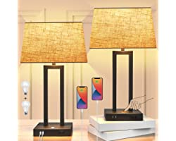 2-Pack Touch Control Bedside Lamp with USB Ports and AC Outlet 3-Way Dimmable Small Table Lamps for Living Room Black Nightst