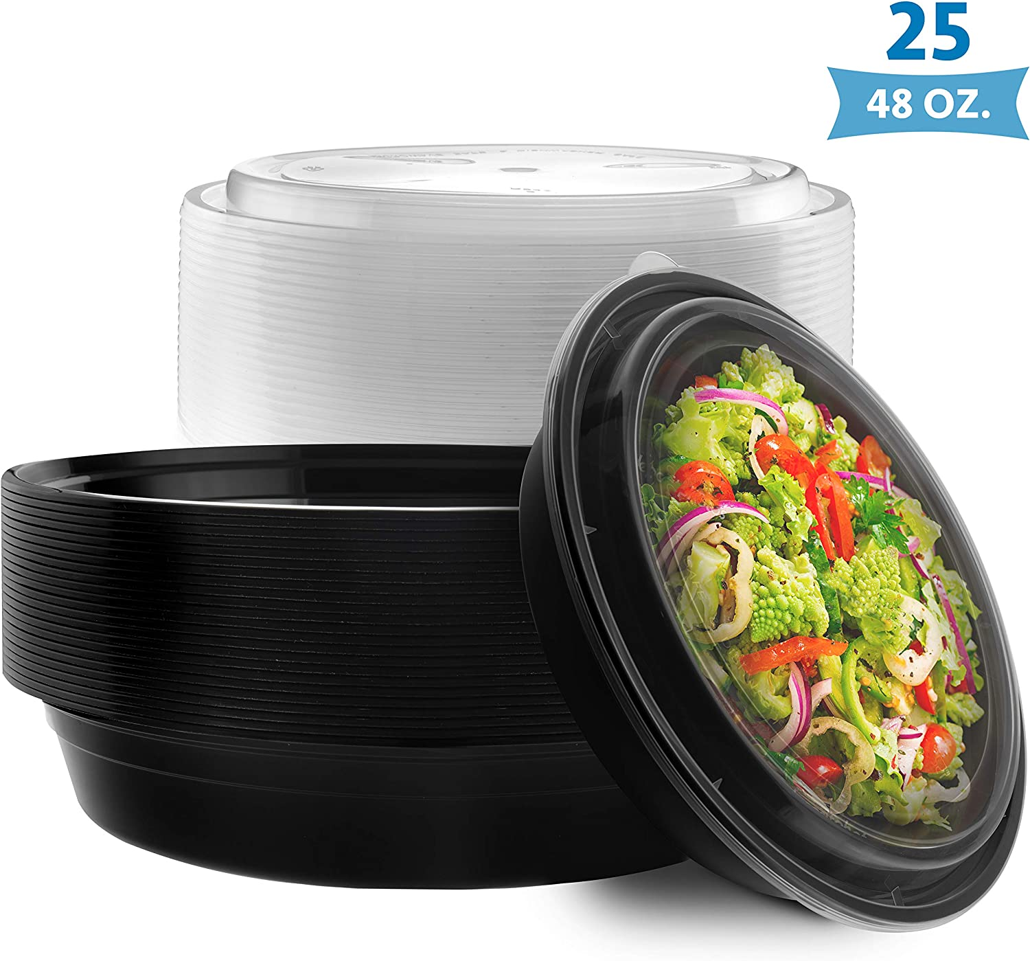 NYHI Round Meal Prep Food Containers | One Compartment BPA-Free Plastic Food Storage Portion Control Dishes With Lids | Reusable Bento Lunch Box | Microwave Dishwasher Freezer Safe | 9 Inch, 25 Pack