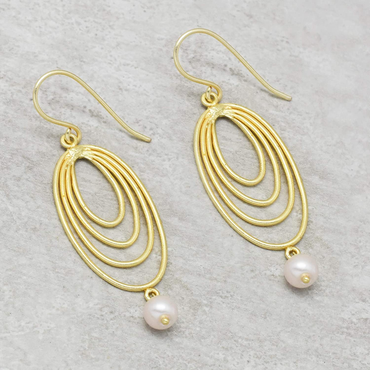 The V Collection earrings pearl beads 22k gold plated handcrafted dangling earrings for women /& girls