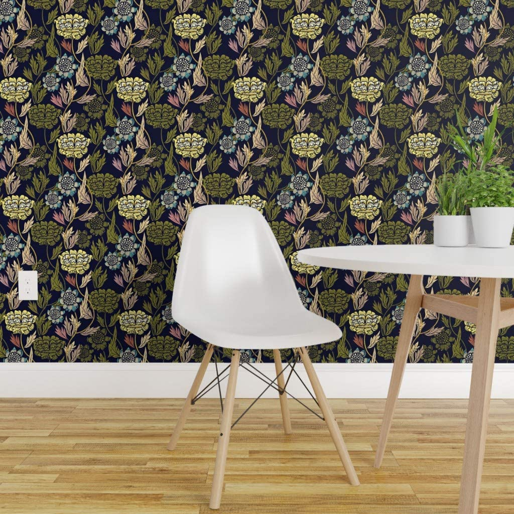 Spoonflower Peel And Stick Removable Wallpaper Vintage Floral Art