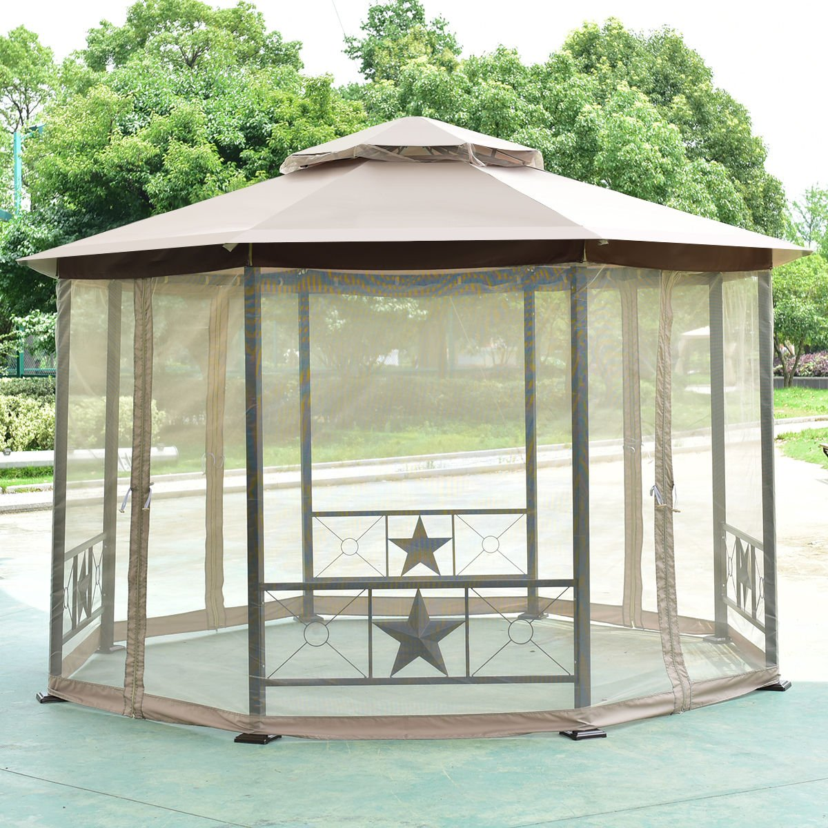 Tangkula Gazebo 2-Tier 12 5ft Octagon Outdoor Patio Fully Enclosed