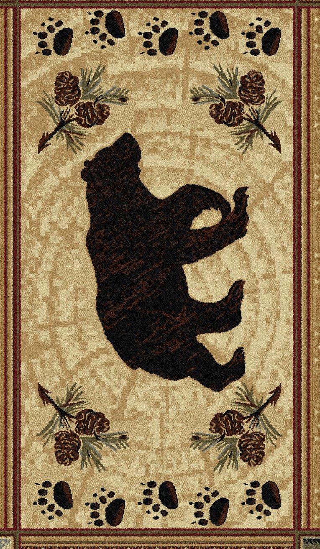 Black Bear Novelty Lodge Pattern Brown Scatter Mat Rug