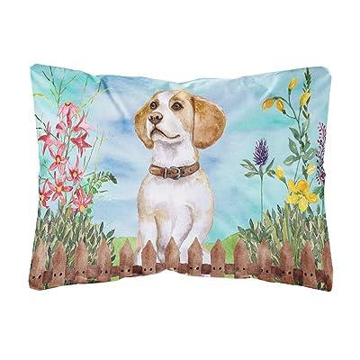 Caroline's Treasures CK1248PW1216 Beagle Spring Canvas Fabric Decorative Pillow, 12H x16W, Multicolor : Garden & Outdoor