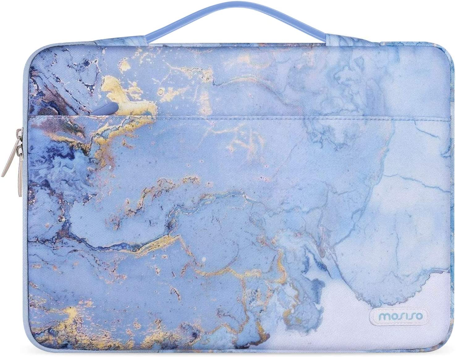 MOSISO Laptop Sleeve 360 Protective Case Bag Compatible with 13-13.3 inch MacBook Pro, MacBook Air, Notebook, Polyester Pattern Shockproof Handbag with Trolley Belt, Water Blue Marble
