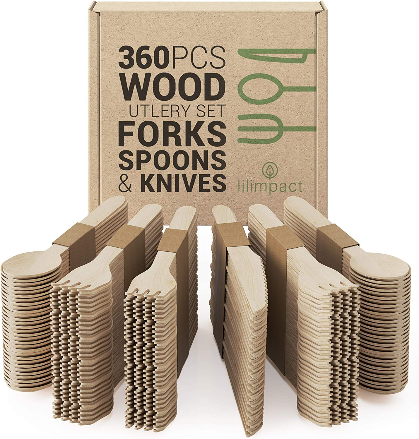 Lilimpact - Disposable Wooden Forks, Spoons, Knives Set   Alternative to Plastic Cutlery - Eco Biodegradable Replacements (360 Count - 180 Forks, 120 Spoons, 60 Knives) (360)