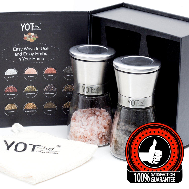 Amazon.com: Salt and Pepper Grinder Set - Adjustable Pepper Grinder ...