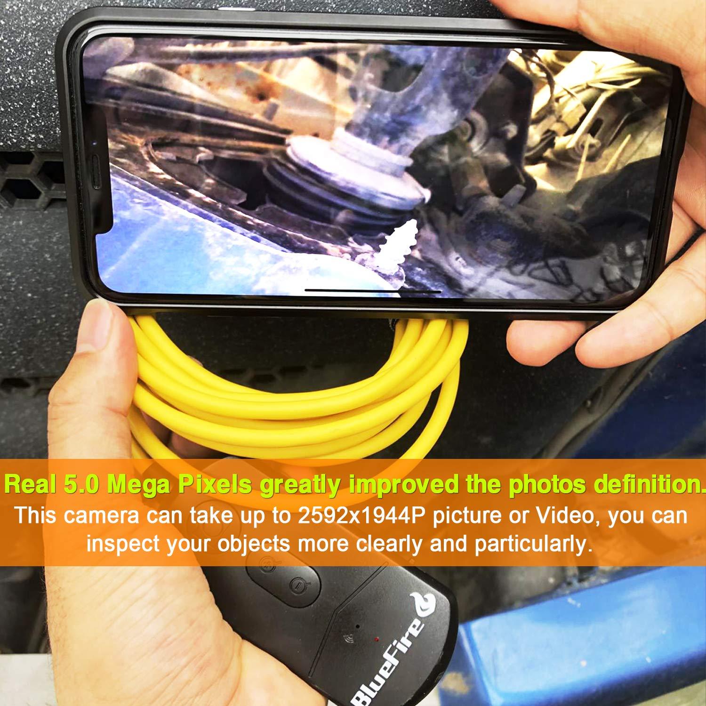 5MP 1944P 8.5mm 2200mAh Zoom Semirigido Telecamera Ispezione Boroscopio Telecamera Endoscopica per iOS Android Phone Tablet BlueFire Aggiornato Endoscopio WiFi Inspection Camera Snake Camera