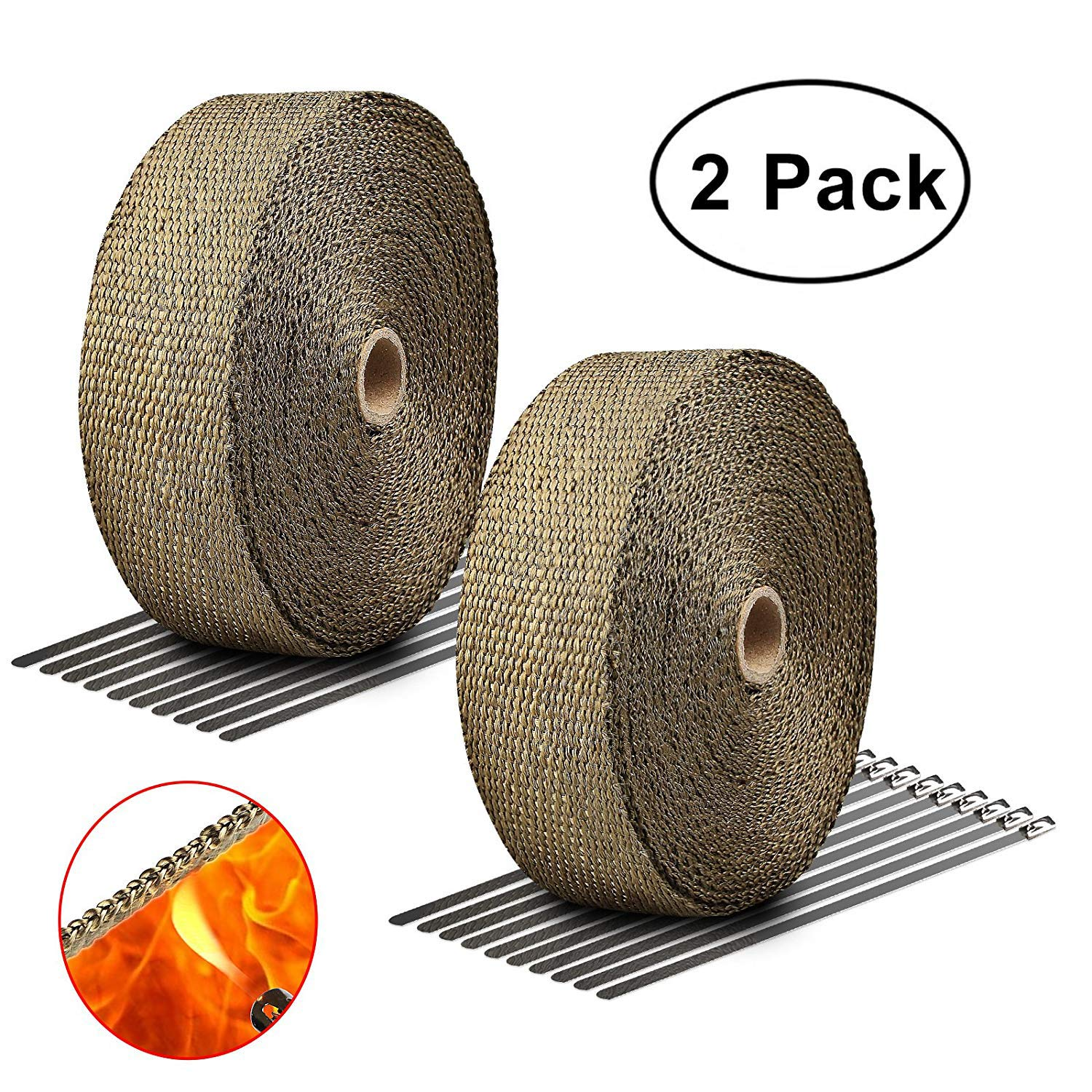 LIBERRWAY Exhaust Wrap 2' x50Ft Heat Wrap Tap Header Glassfiber for Car Motorcycle + 10 Stainless Ties 2 Pack RTEHWT10STIE50FT2PACK